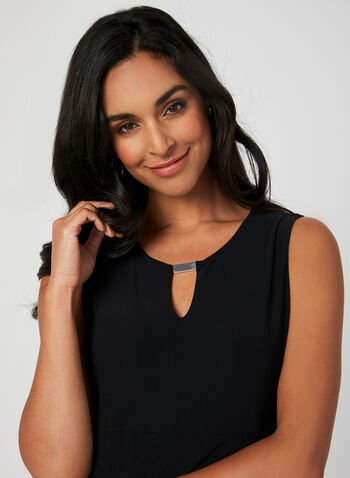 Sleeveless Layered Top, Black, hi-res,  jersey, sleeveless, metallic, layered, fall 2019, winter 2019