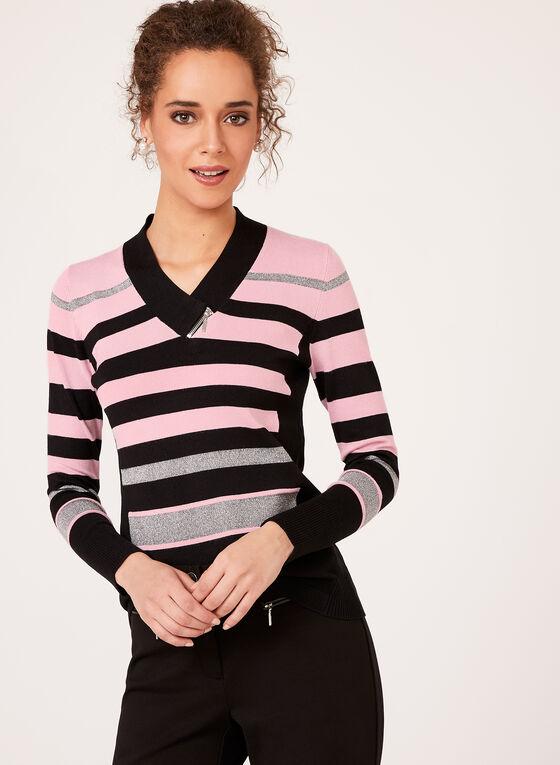 Lurex Stripe Knit Sweater, Purple, hi-res
