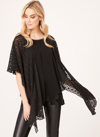 Embroidered Chiffon Wrap, Black, hi-res