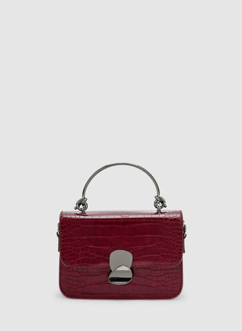 Crocodile Print Handbag, Red,  faux crocodile skin, handle, metal, fall 2019, winter 2019