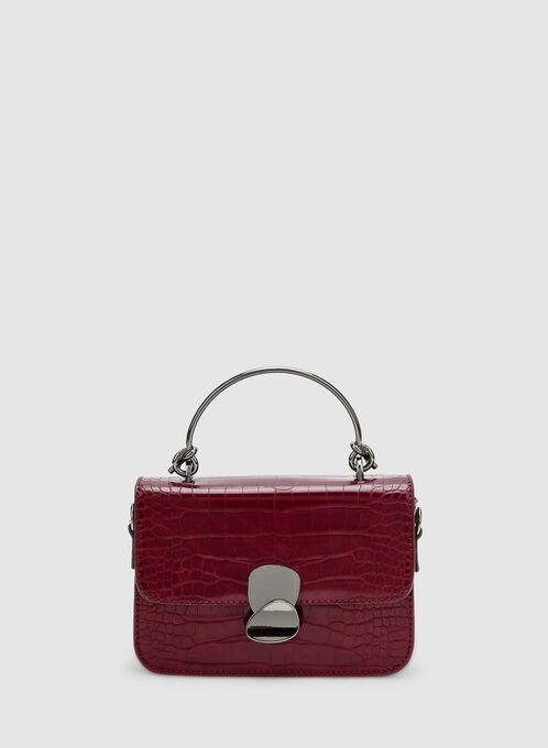 Crocodile Print Handbag, Red, hi-res