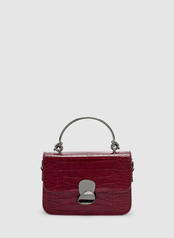 Crocodile Print Handbag, Red