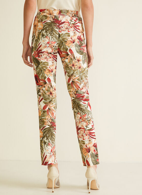 Pantalon coupe cité motif tropical, Orange