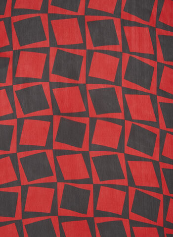 Geometric Print Scarf, Red, hi-res,  scarf, lightweight, chiffon, geometric, fall 2019, winter 2019