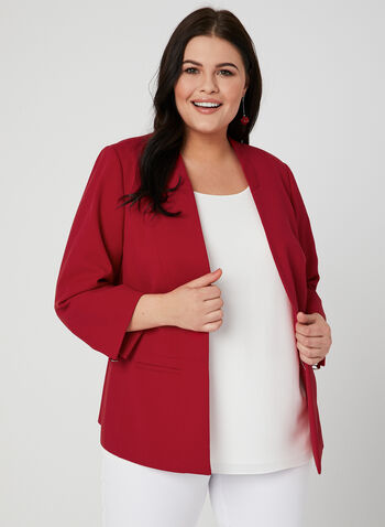 Open Front Crepe Jacket, Red, hi-res,  blazer, jacket, Open front