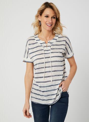 T-shirt rayé à encolure lacée, Bleu, hi-res,  printemps 2019, rayures, ligné, nautique, cordon, nœud, manches courtes, haut