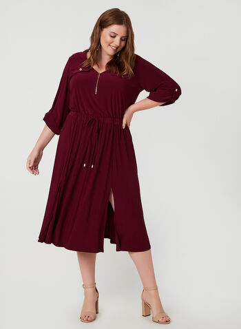 Emma & Michele - Jersey Dress, Red, hi-res,  v-neck, 3/4 sleeves, dress, day dress, drawstring, slits, fall 2019, winter 2019