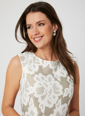 Floral Lace Print Dress, Off White, hi-res