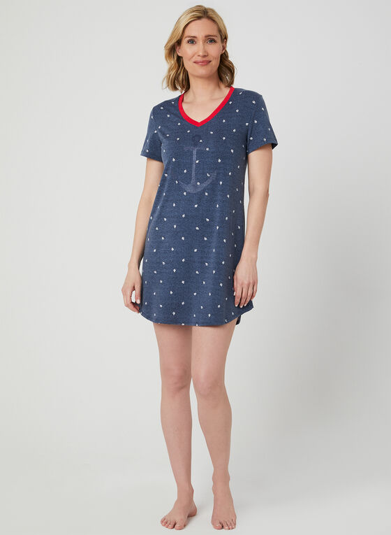 Claudel Lingerie – Nautical Print Nightshirt, Blue, hi-res
