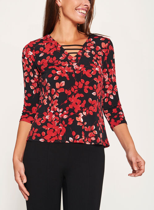 3/4 Sleeve Lace Effect Detail Top, Black, hi-res