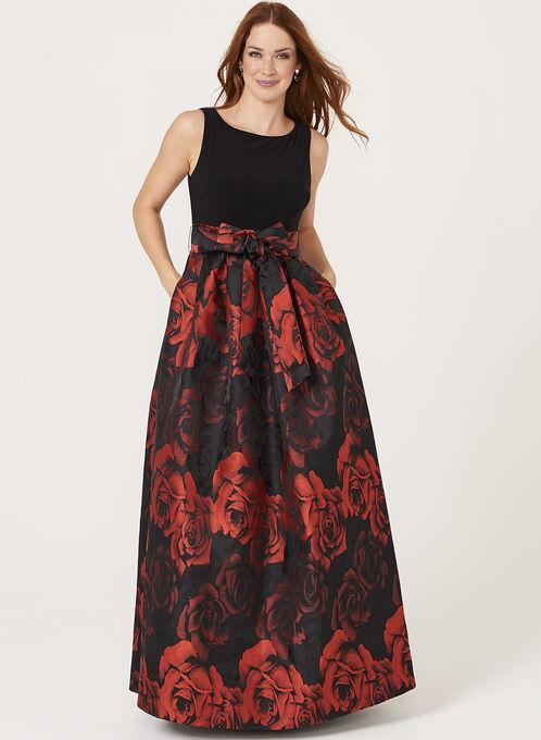 Robe ajustée et évasée à motif rose, Noir, hi-res