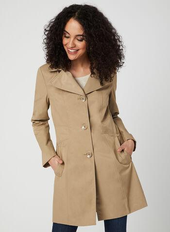 Anne Klein - Notch Collar Coat, Brown,  spring 2019