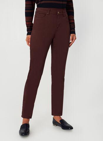 Jeans coloré à coupe signature, Rouge,  automne hiver 2019, jeans, coloré, jambe étroite, coupe signature