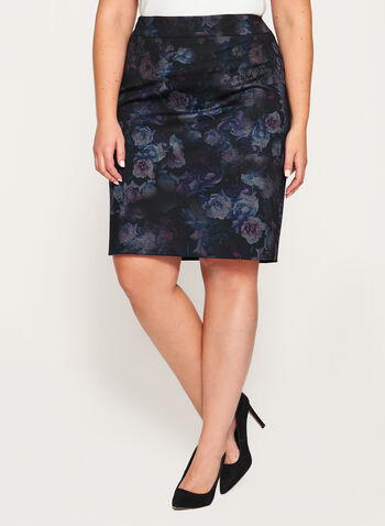 Floral Print Ponte Pencil Skirt, Black, hi-res