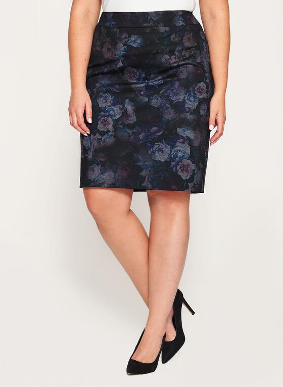 Jupe crayon à motif floral, Noir, hi-res