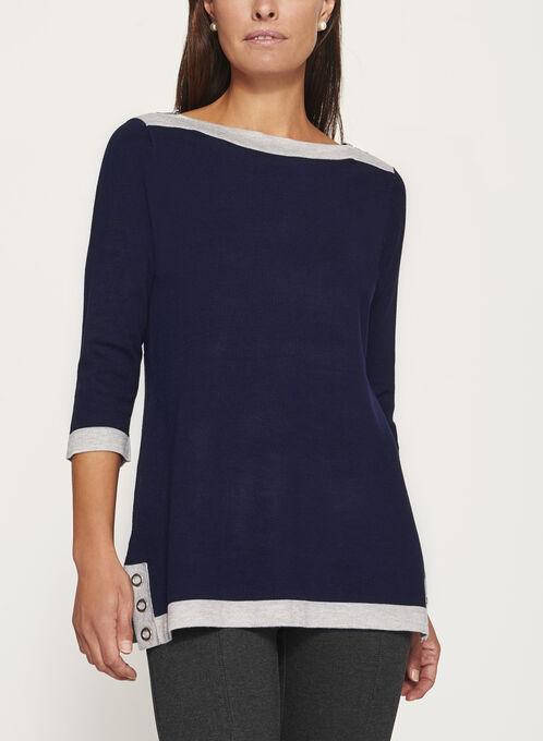 Pull en tricot à col bateau et détails couture, Bleu, hi-res