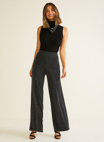 Metallic Wide Leg Pants, Black,  fall winter 2020, pants, wide leg, metallic