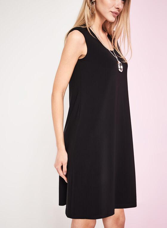 Robe trapèze sans manches à col rond, Noir, hi-res