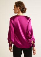 Tiered Balloon Sleeve Blouse, Purple