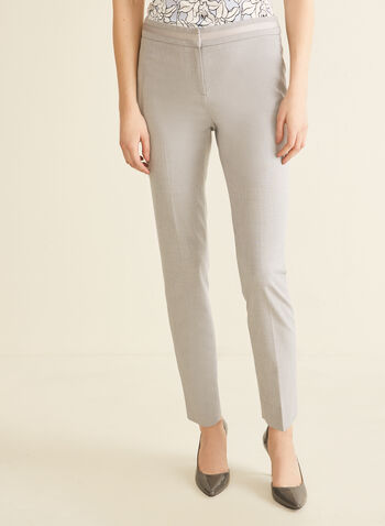 City Fit Straight Leg Pants, Grey,  pants, city fit, straight leg, pleats, stretchy, mid rise, spring summer 2020