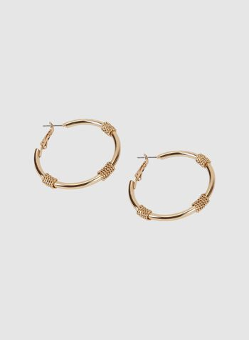 Coil Detail Hoop Earrings, Gold, hi-res