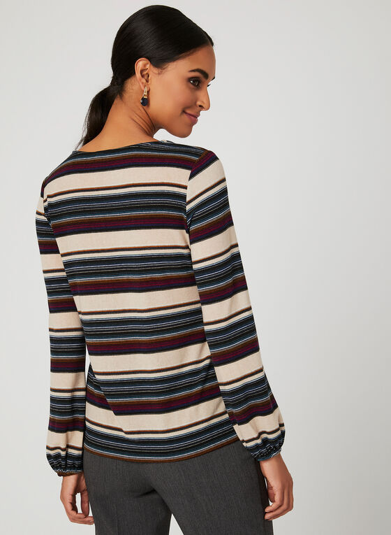 Stripe Print Long Sleeve Top, Multi, hi-res