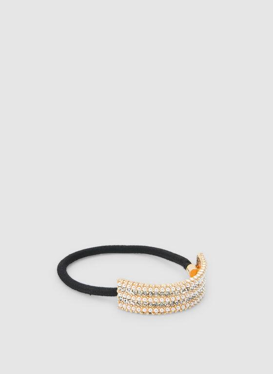 Élastique à perles et cristaux, Blanc cassé
