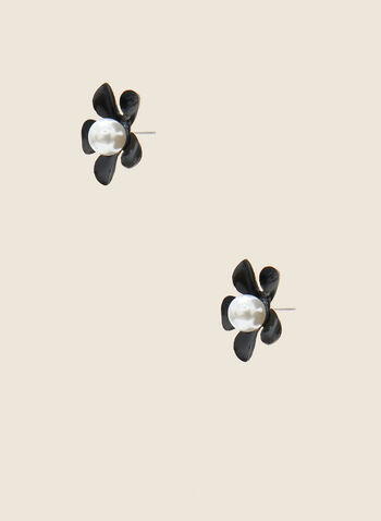 Pearl Detail Flower Earrings, Black,  spring 2021, jewelry, jewellery, earrings, accessories, pushback closure, flower, floral, epoxy, detail, button, pearl centre