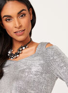Metallic Cold Shoulder Knit Tunic, Grey, hi-res
