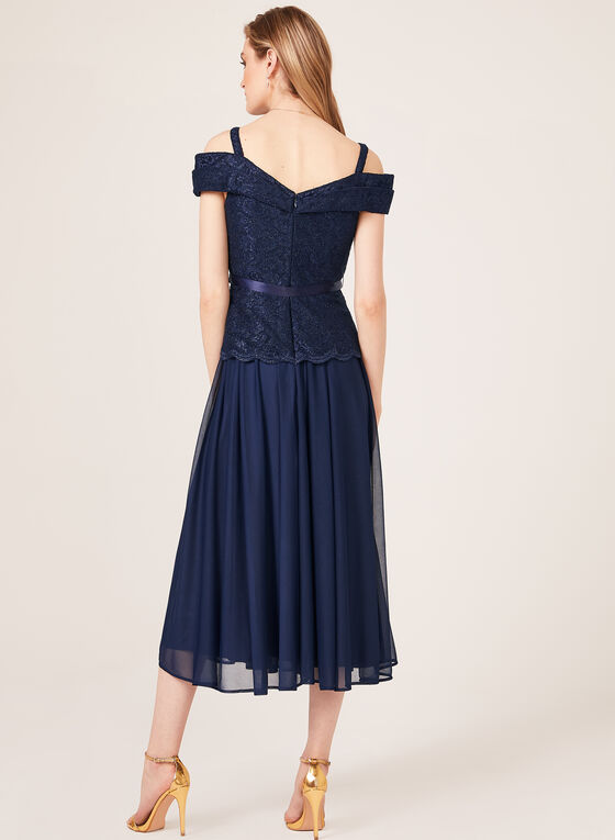 Robe dentelle brillante et mousseline avec ruban, Bleu, hi-res