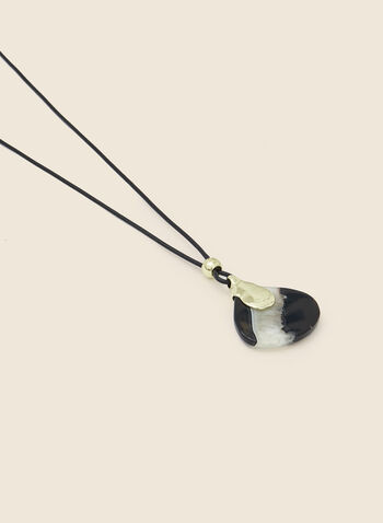 Collier à pierre semi-précieuse, Noir,  automne hiver 2020, collier, pendentif, pierre, semi-précieuse, corde, bijou, accessoire