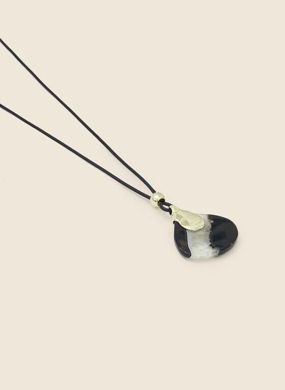 Semi-Precious Stone Pendant Necklace, Black