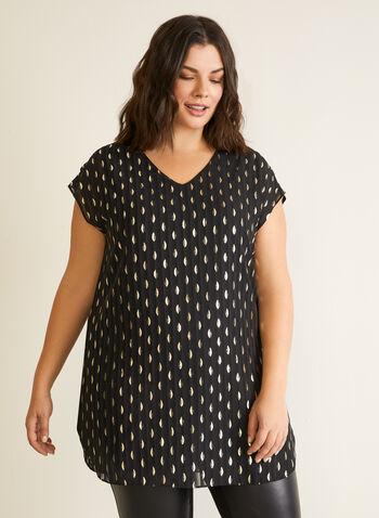 Metallic Pattern Tunic Blouse, Black,  top, tunic, blouse, chiffon, dotted, metallic, fall winter 2020