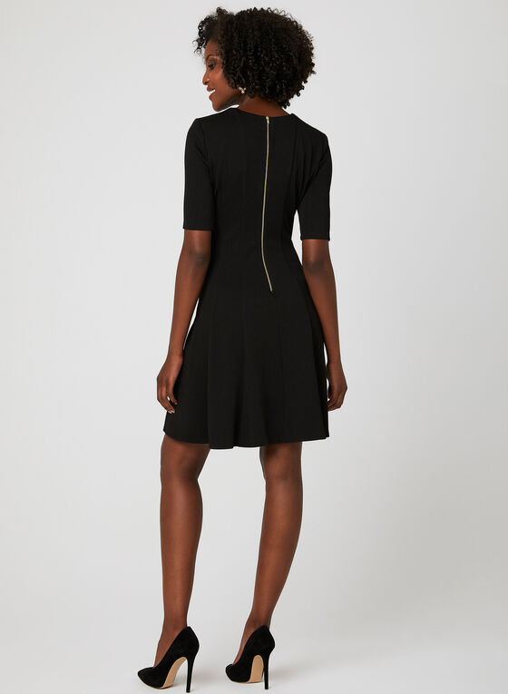 Contrast Trim Fit & Flare Dress, Black, hi-res