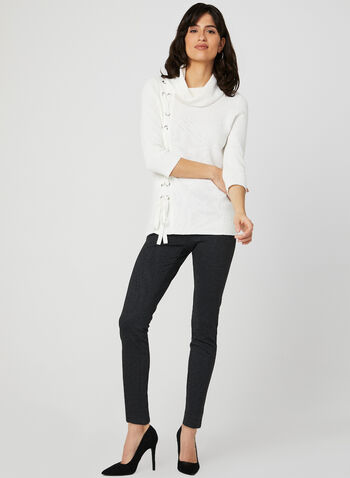 Lace Up Cowl Neck Sweater, Off White, hi-res