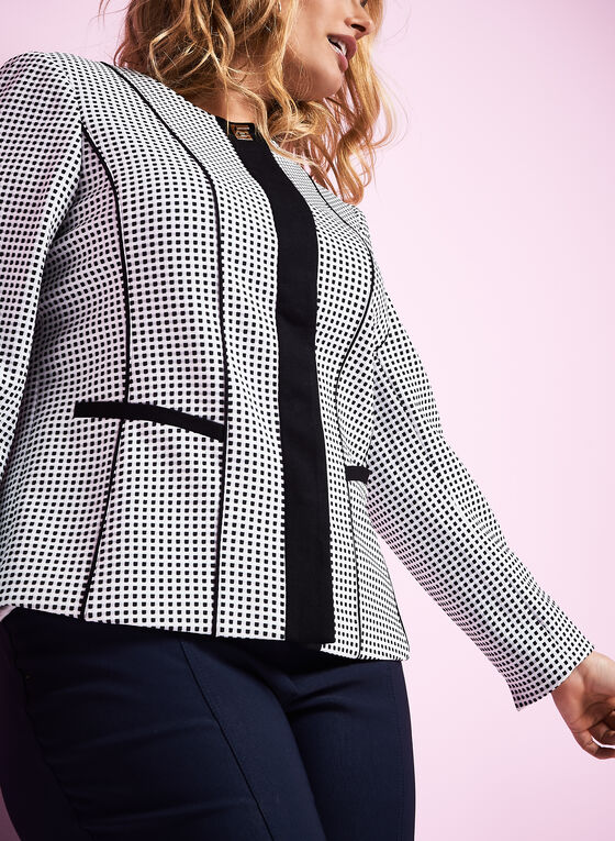 Knit Dot Print Jacket , White, hi-res