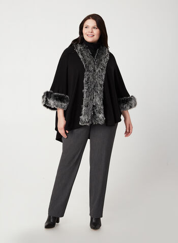 Faux-Fur Trim Shawl, Black,  fur stole