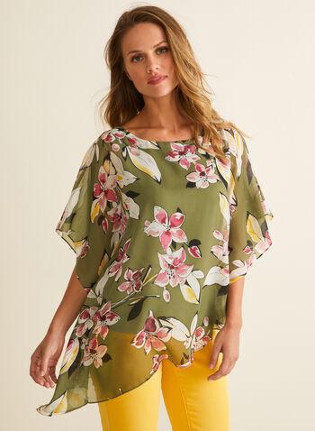 Floral Print Poncho Blouse, Green,  blouse, poncho, top, floral, chiffon, jersey, asymmetric, spring summer 2020