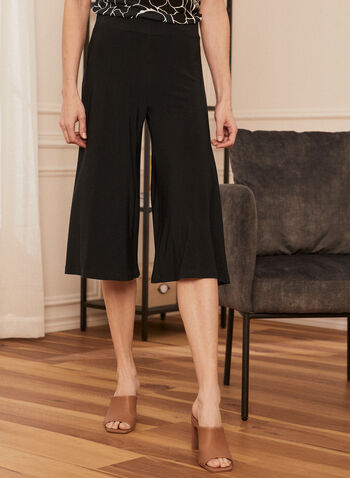 Pull-On Gaucho Pants, Black,  gauchos, jersey, pull-on, wide leg, capris, spring summer 2020