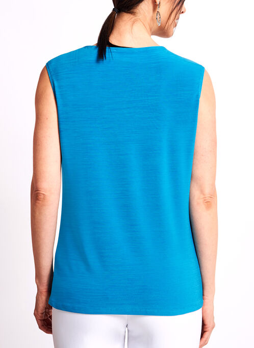 Haut sans manches à col plissé effet bijou, Bleu, hi-res