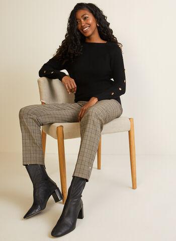 Pull en tricot à manches longues et boutons, Noir,  pull, manches longues, tricot, boutons, automne hiver 2020
