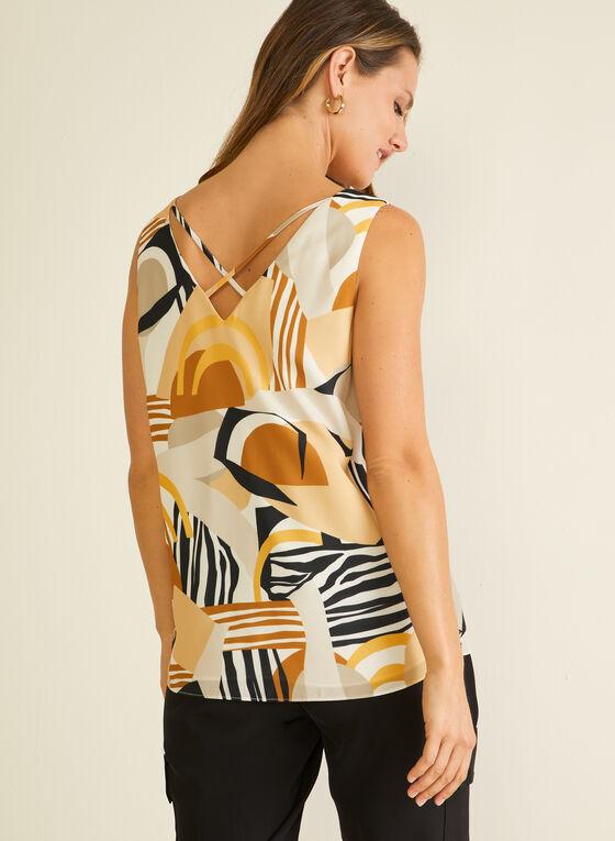 Abstract Print Sleeveless Blouse, White
