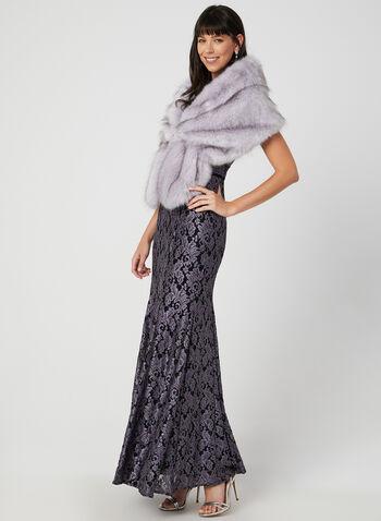 Étole en fausse fourrure avec broche, Violet, hi-res,  agrafe, cristaux, sans manches, automne hiver 2019