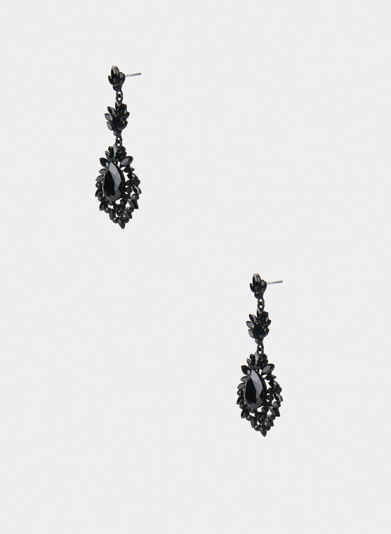 Teardrop Drop Earrings, Black