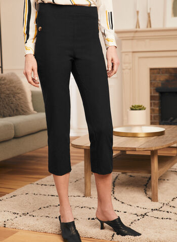 Pull-On Button Detail Capris, Black,  capris, straight leg, pull-on, high waist, stretchy, spring summer 2021