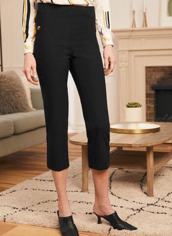 Capri pull-on à taille haute  , Noir,  fait au canada, printemps été 2021, pantalon, pantacourt, capri, pantalon, jambe droite, taille haute, boutons, pull-on, à enfiler, extensible