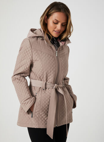 Quilted Tie Belt Coat, Pink,  quilted fabric, long sleeves, zipper in front, tie belt, stand up collar, removable hood, fall 2019, winter 2019