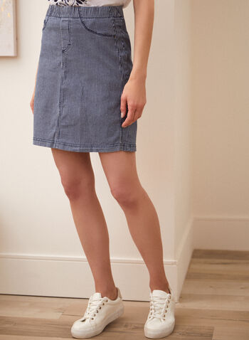 Charlie B - Jupe en denim à rayures, Bleu,  jupe, charlie b, taille élastique, crayon, poches, rivets métalliques, motif, rayures verticales, printemps été 2021