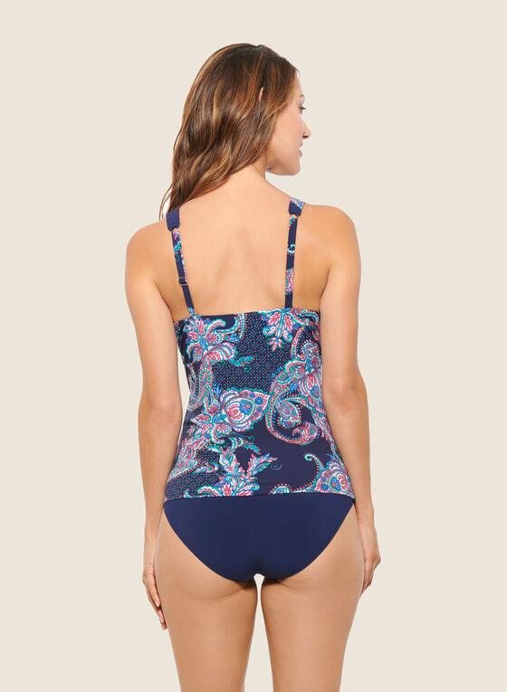 Christina - Tankini motif cachemire avec culotte, Bleu