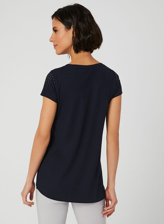 T-shirt en jersey à détails cristaux , Bleu, hi-res